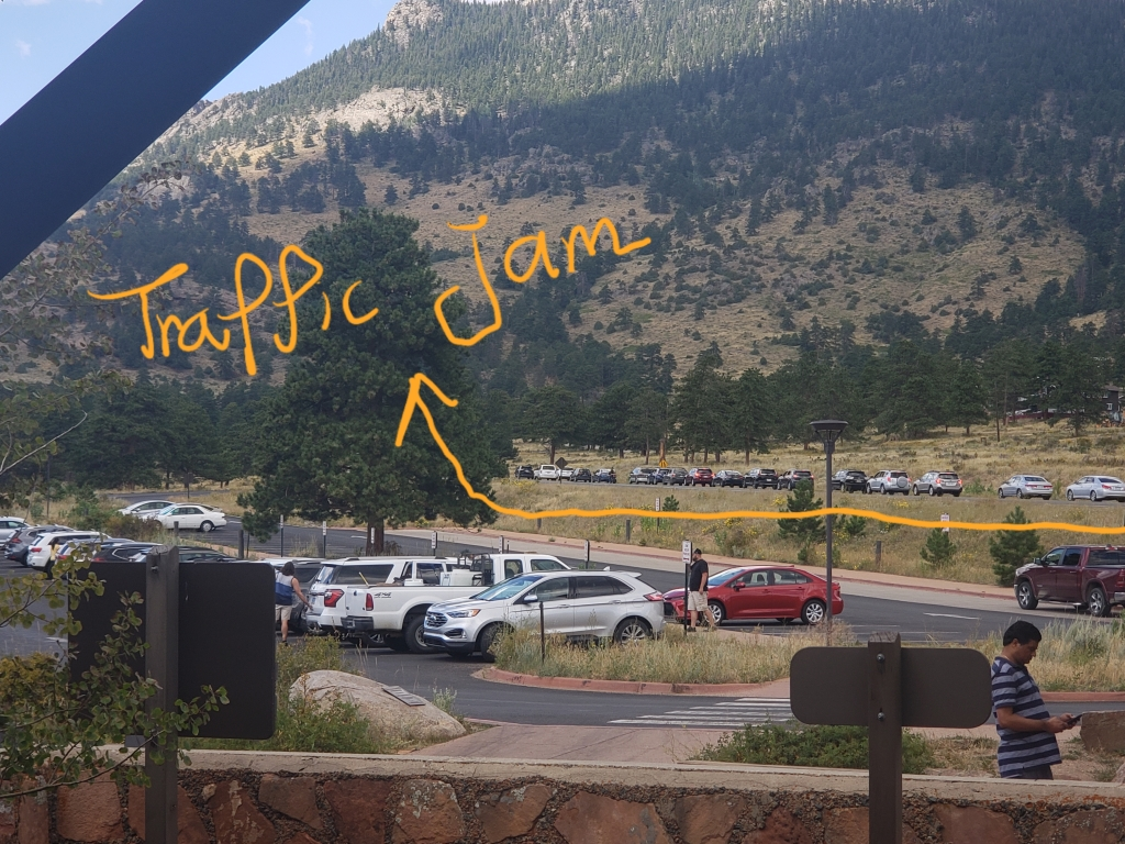 Traffic jam! Thousands of cars are lining up to enter Rocky Mountain National Park!